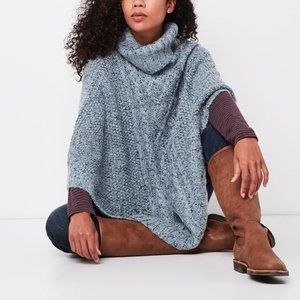roots cable knit poncho one size in grey